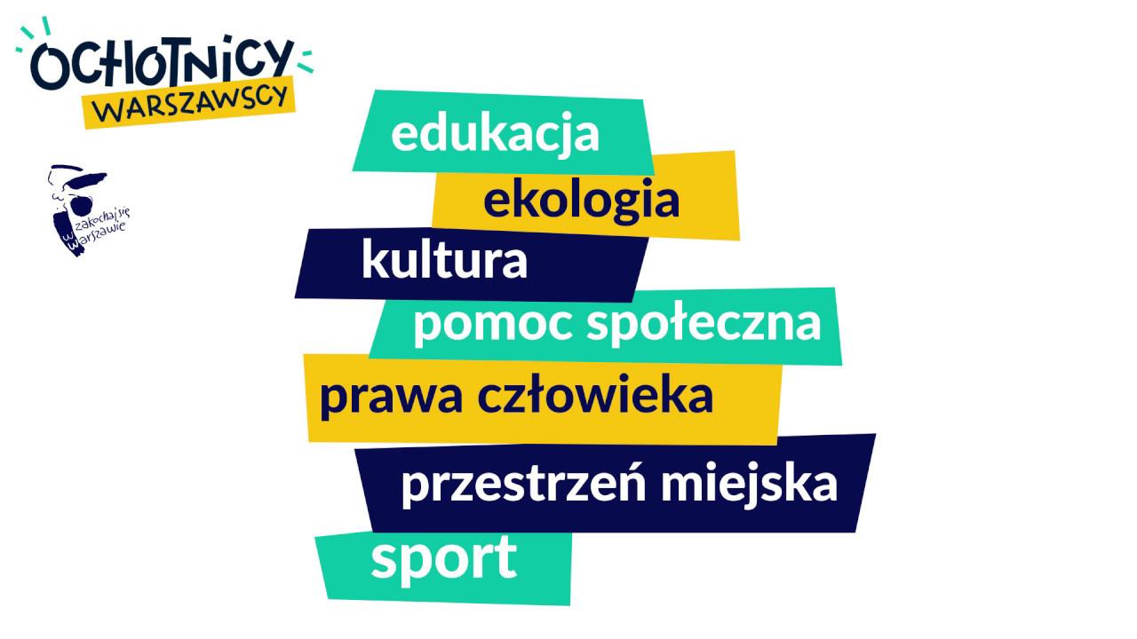 Grafika prezentująca różne obszary wolontariatu: edukacja, ekologia, kultura, pomoc społeczna, prawa człowieka, przestrzeń miejska, sport.