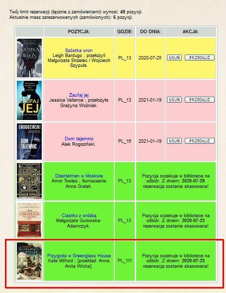 lista zamówień i rezerwacji – lista zarezerwowanych i zamówionych książek w internetowym koncie czytelnika. Czerwonym prostokątem zaznaczono zamówioną pozycję