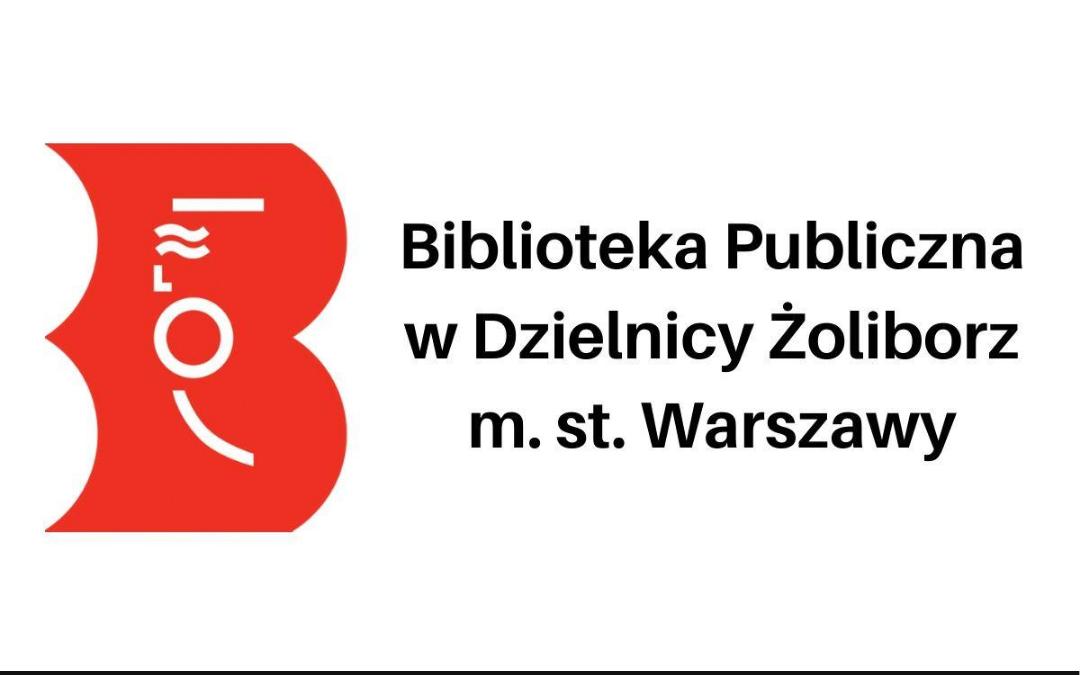 logo biblioteki wraz z napisem Biblioteka Publiczna w Dzielnicy Żoliborz m. st. warszawy