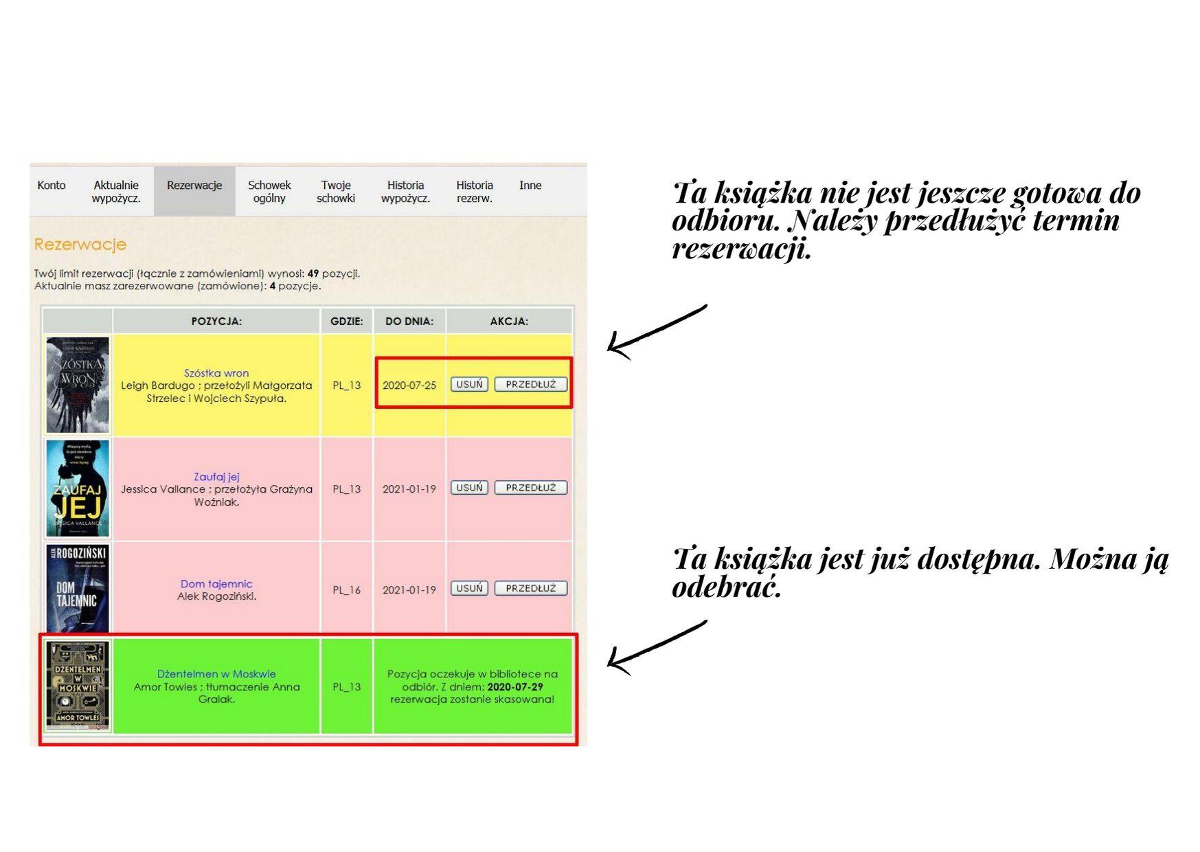rezerwacje – książka do odbioru oraz przedłużenia rezerwacji – lista zarezerwowanych przez czytelnika książek z zaznaczonymi dwoma książkami – jedna gotowa do odbioru a druga z kończącym się czasem rezerwacji