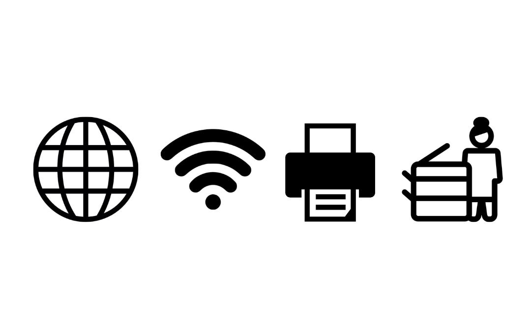 ikony usług w bibliotece - internet, wifi, drukowanie, kserowanie