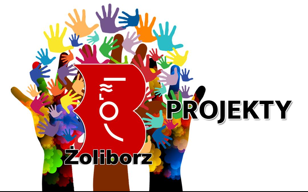 Logo wolontariatu w Bibliotece na Żoliborzu z dopiskiem projekty