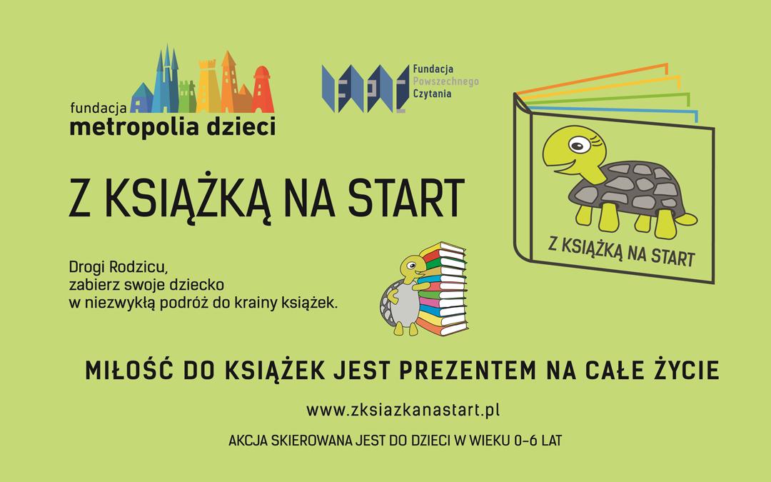 Plakat informujący o projekcie z książką na start
