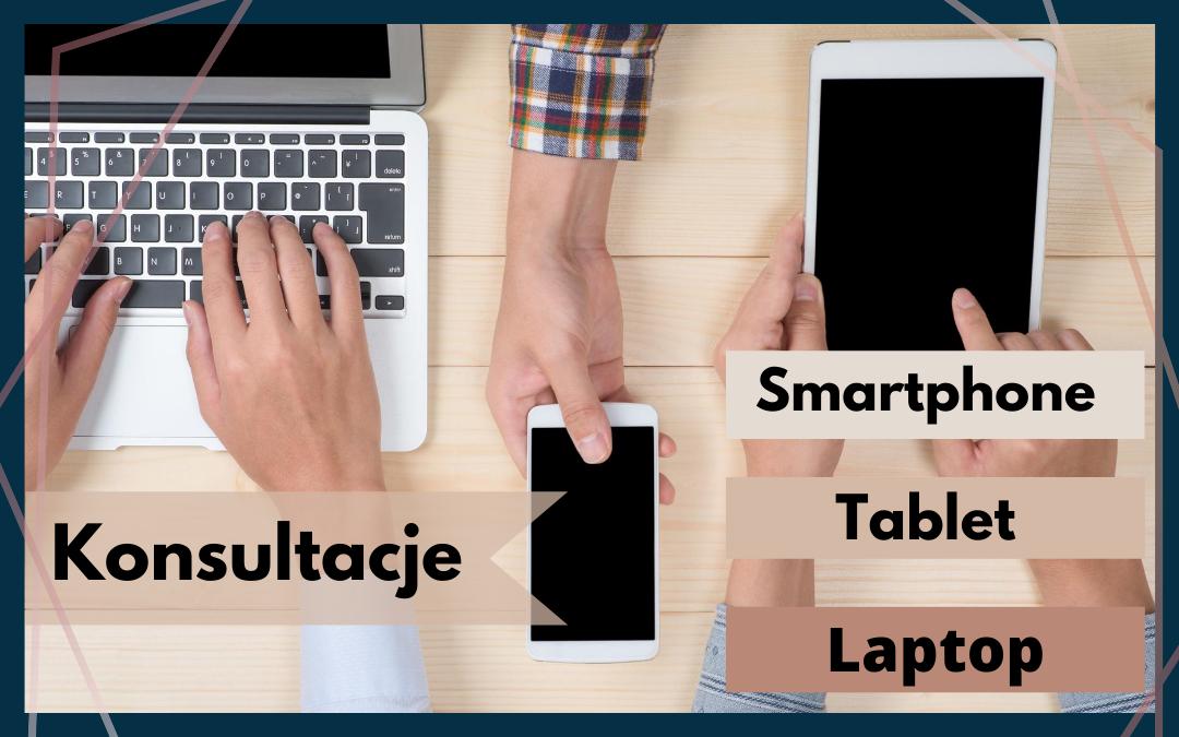 plakat informacyjny o konsultacjach z obsługi smartfona, tableta, laptopa