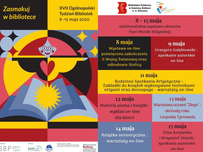 Plakat informujący o działaniach w ramach Tygodnia Bibliotek