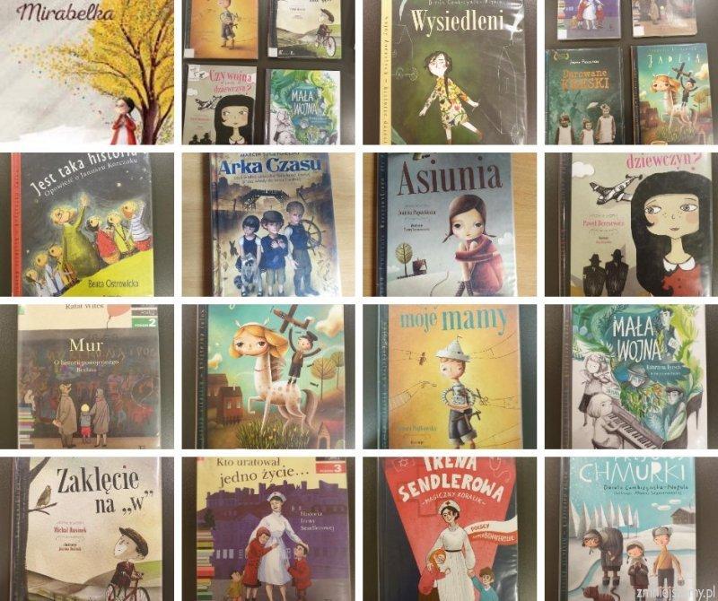 Kolaż książek o tematyce II wojny dla dzieci