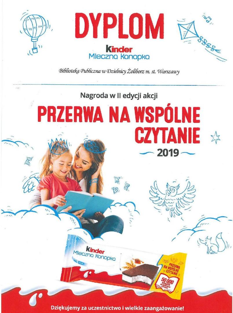 dyplom - kinder przerwa na wspólne czytanie - rok 2019