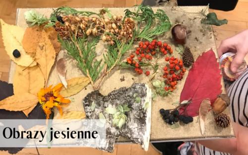 Obraz jesienny wykonany farbami i ozdobiony suszonymi roślinami