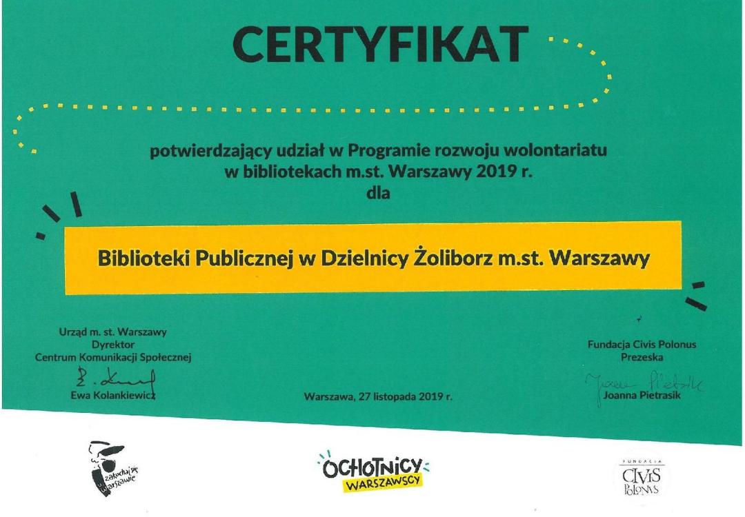 certyfikat za udział w programie rozwoju wolontariatu - rok 2019