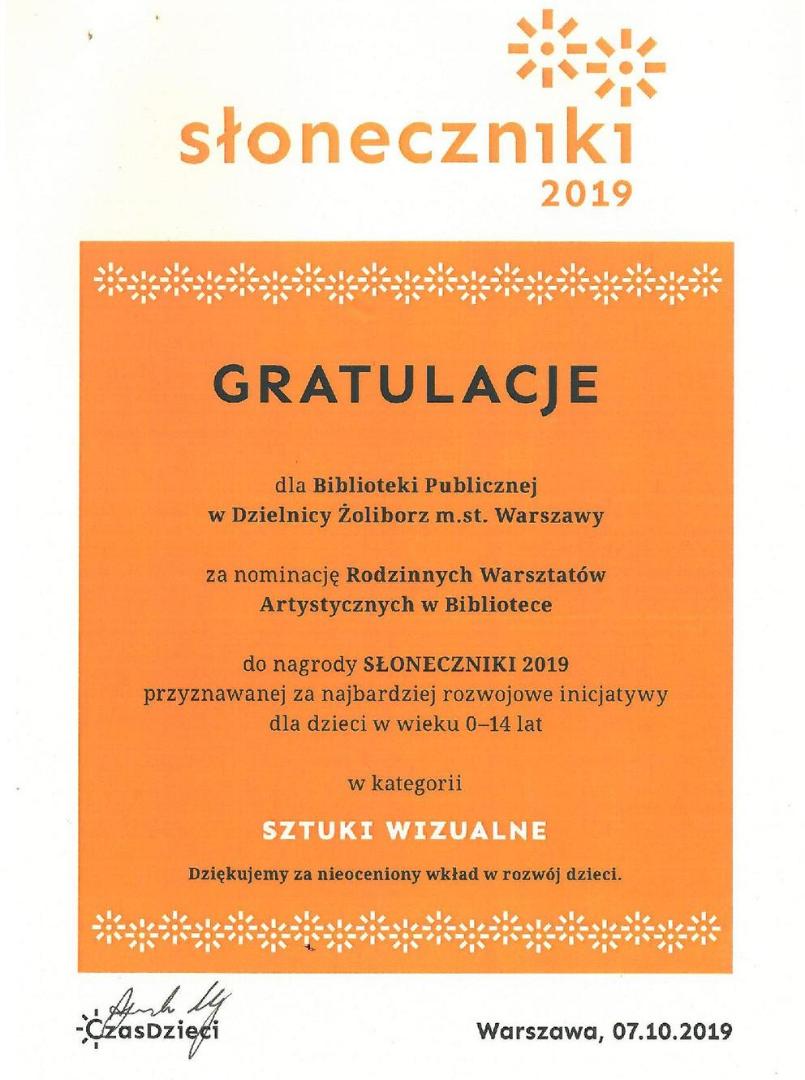 nominacja do nagrody słoneczniki 2019