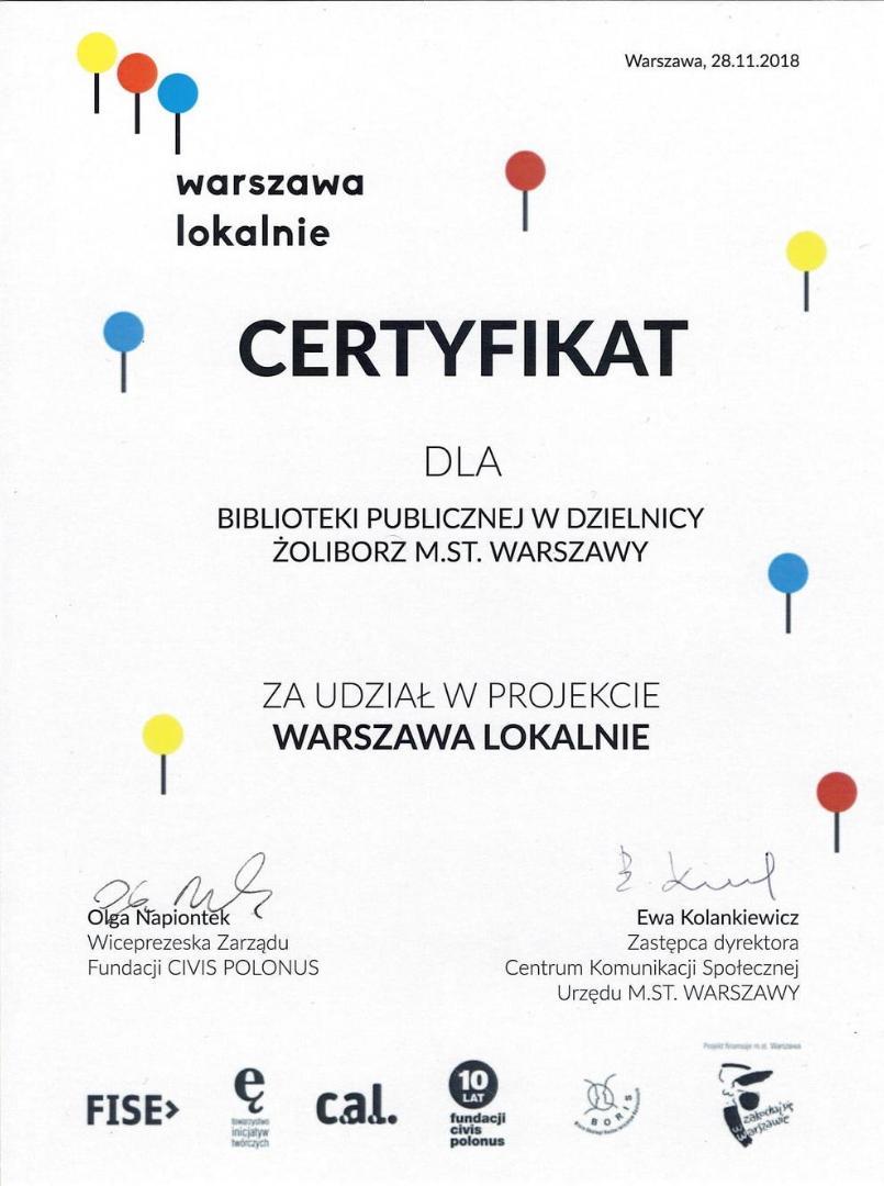 certyfikat za udział w projekcie warszawa lokalnie - rok 2018