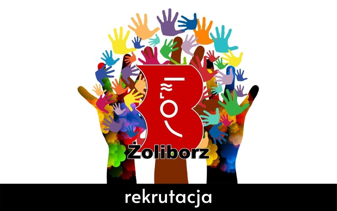 grafika informująca o rekrutacji na wolontariat w Bibliotece Piublicznej dz. Żoliborz m. st. Warszawy