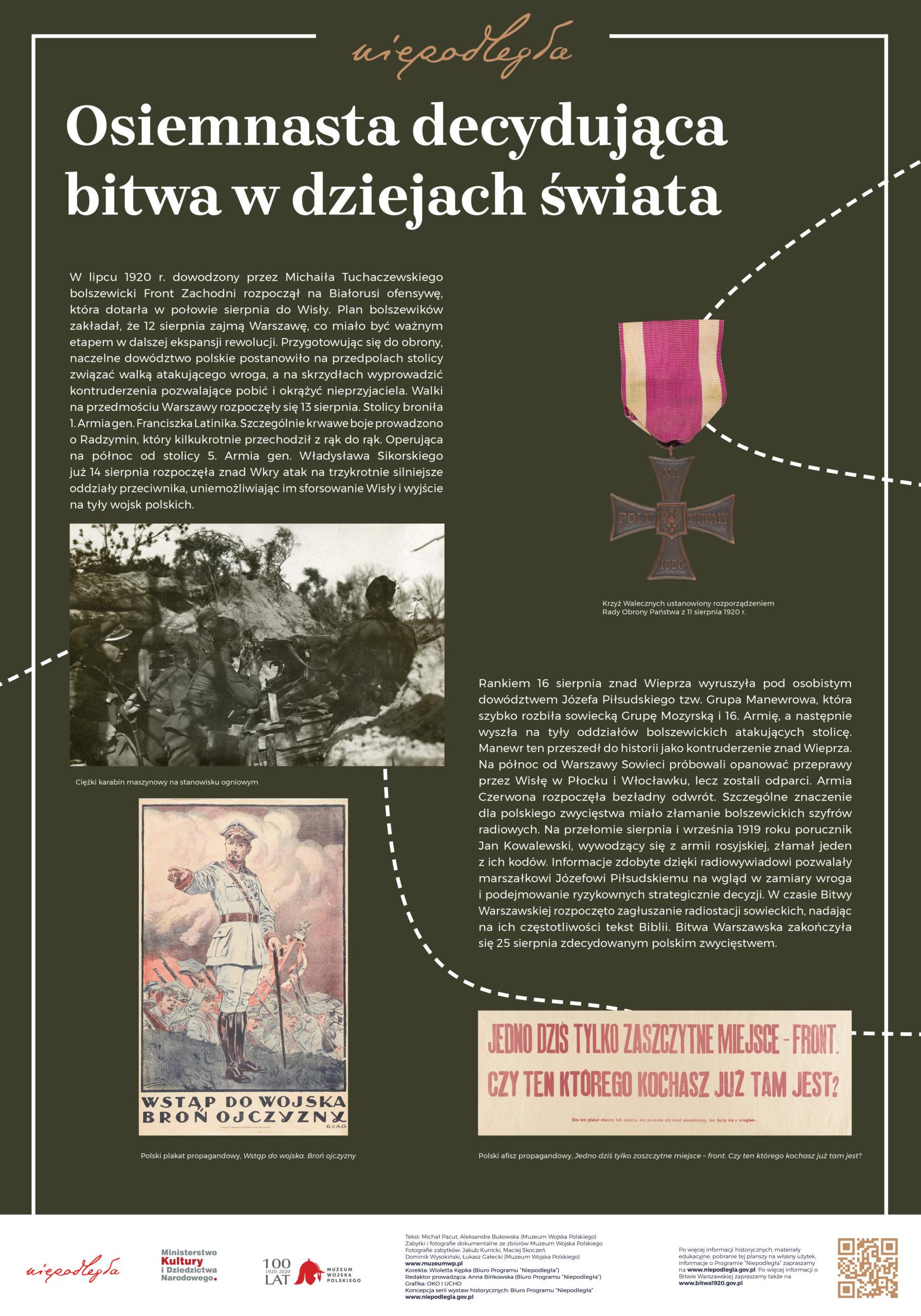 """Plansza z wystawy """"Bitwa Warszawska. Stulecie zwycięstwa"""" pod tytułem Osiemnasta decydująca bitwa w dziejach świata"""