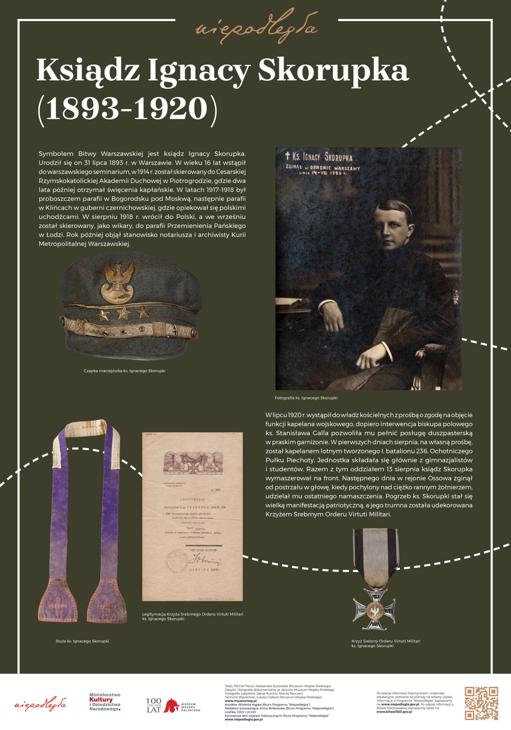 """Plansza z wystawy """"Bitwa Warszawska. Stulecie zwycięstwa"""" pod tytułem Ksiądz Ignacy Skorupka (1893-1920)"""