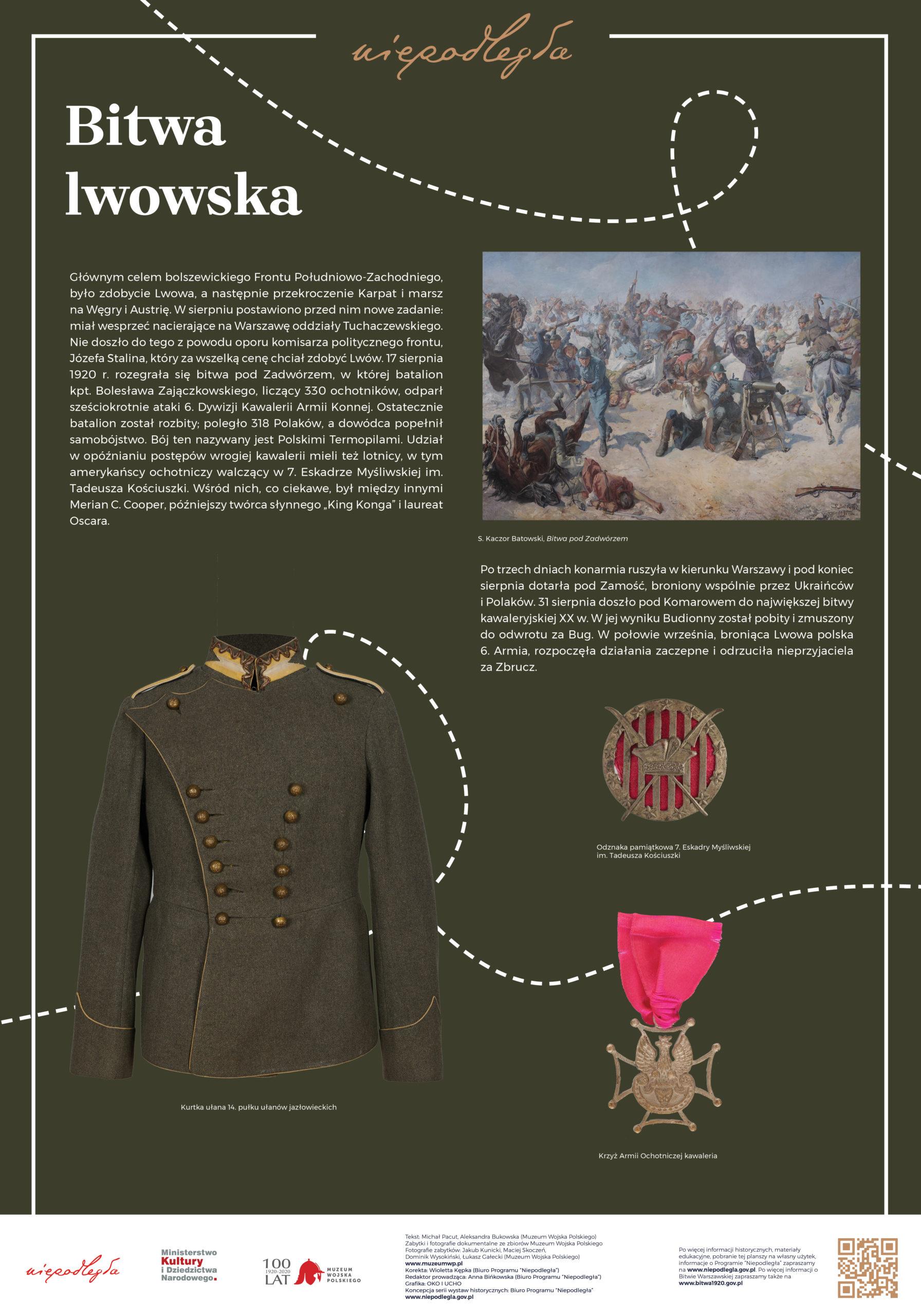 """Plansza z wystawy """"Bitwa Warszawska. Stulecie zwycięstwa"""" pod tytułem Bitwa lwowska"""
