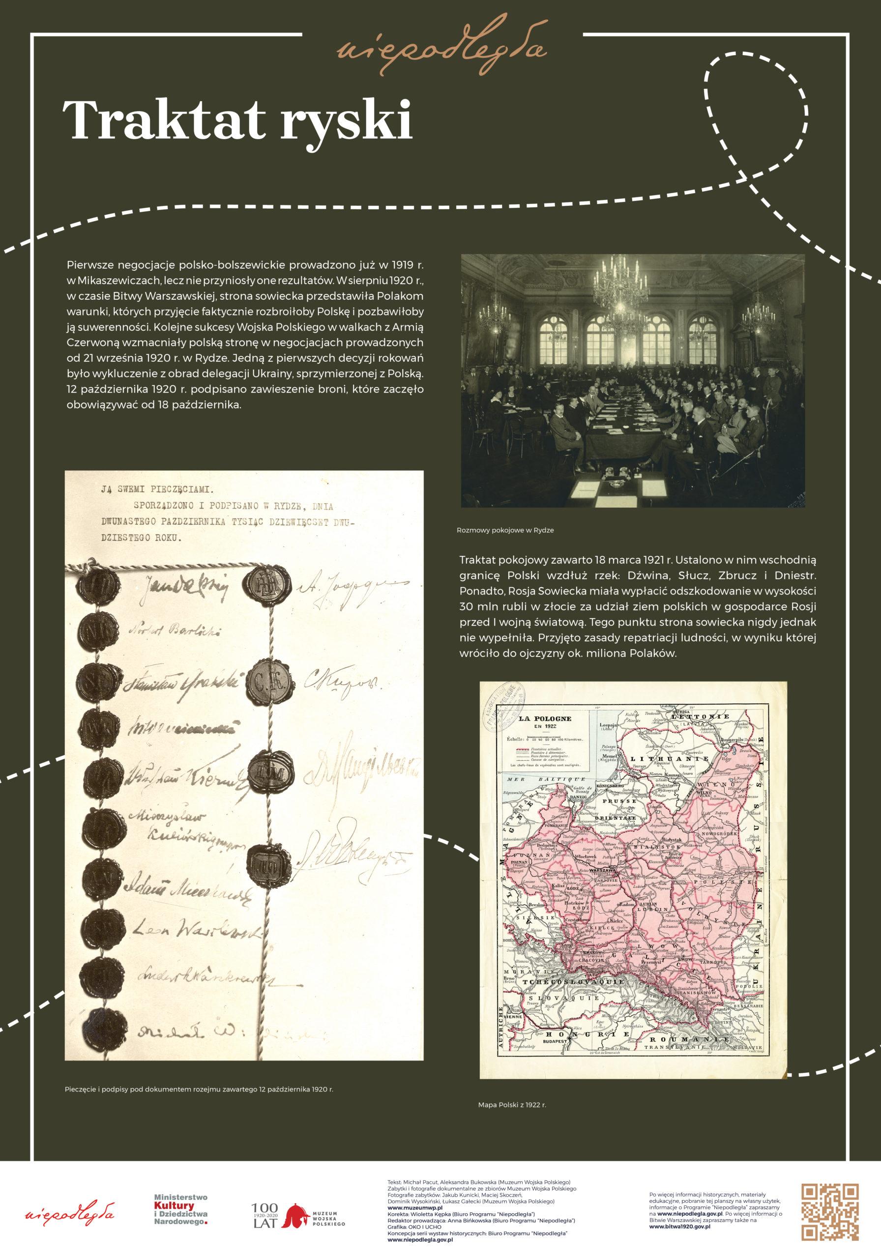 """Plansza z wystawy """"Bitwa Warszawska. Stulecie zwycięstwa"""" pod tytułem Traktat ryski"""