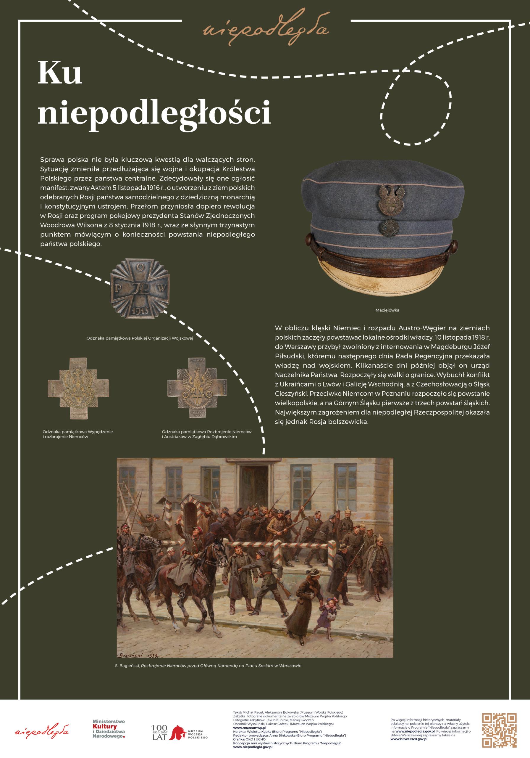 """Plansza z wystawy """"Bitwa Warszawska. Stulecie zwycięstwa"""" pod tytułem Ku niepodległości"""