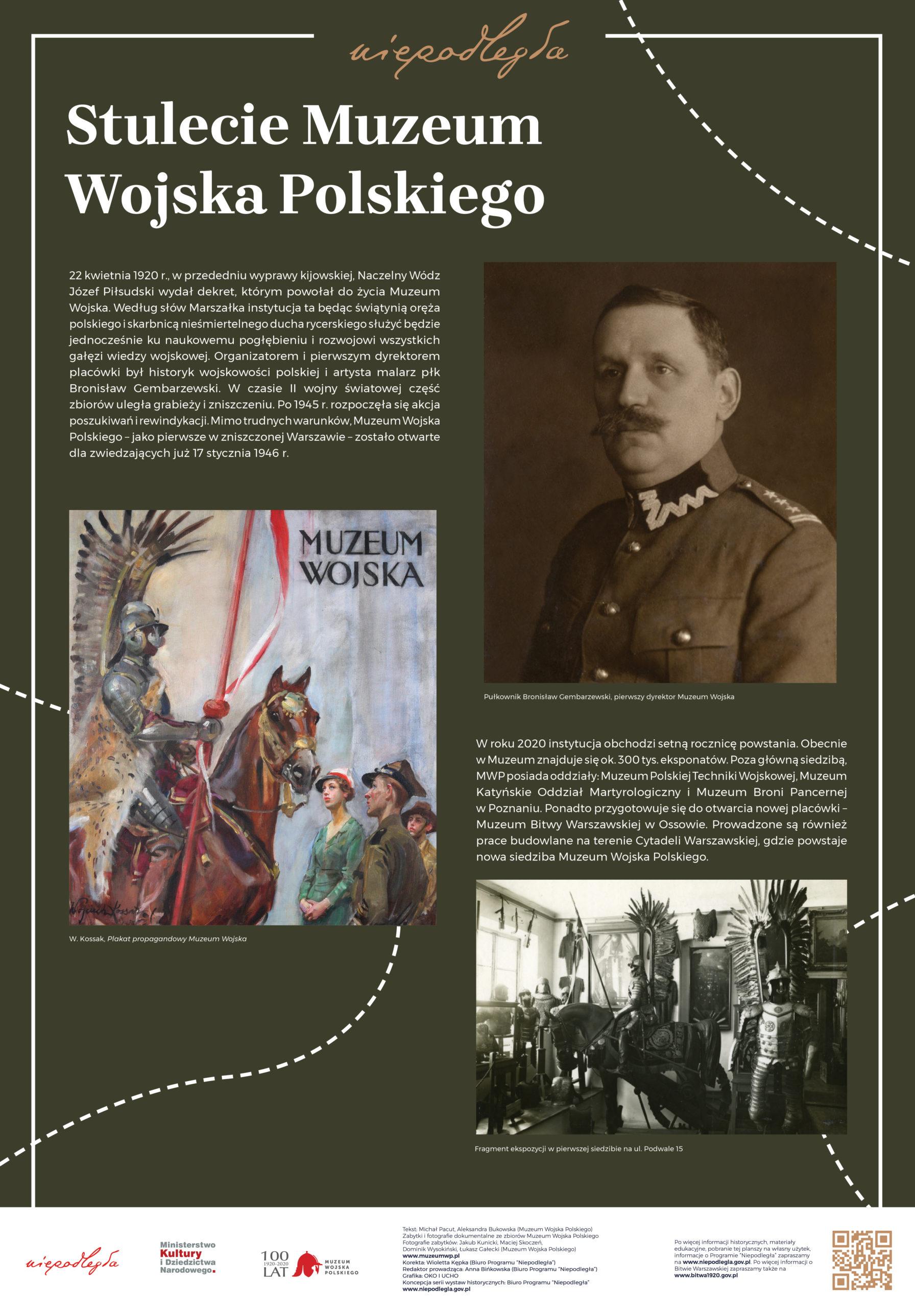 """Plansza z wystawy """"Bitwa Warszawska. Stulecie zwycięstwa"""" pod tytułem Stulecie Muzeum Wojska Polskiego"""