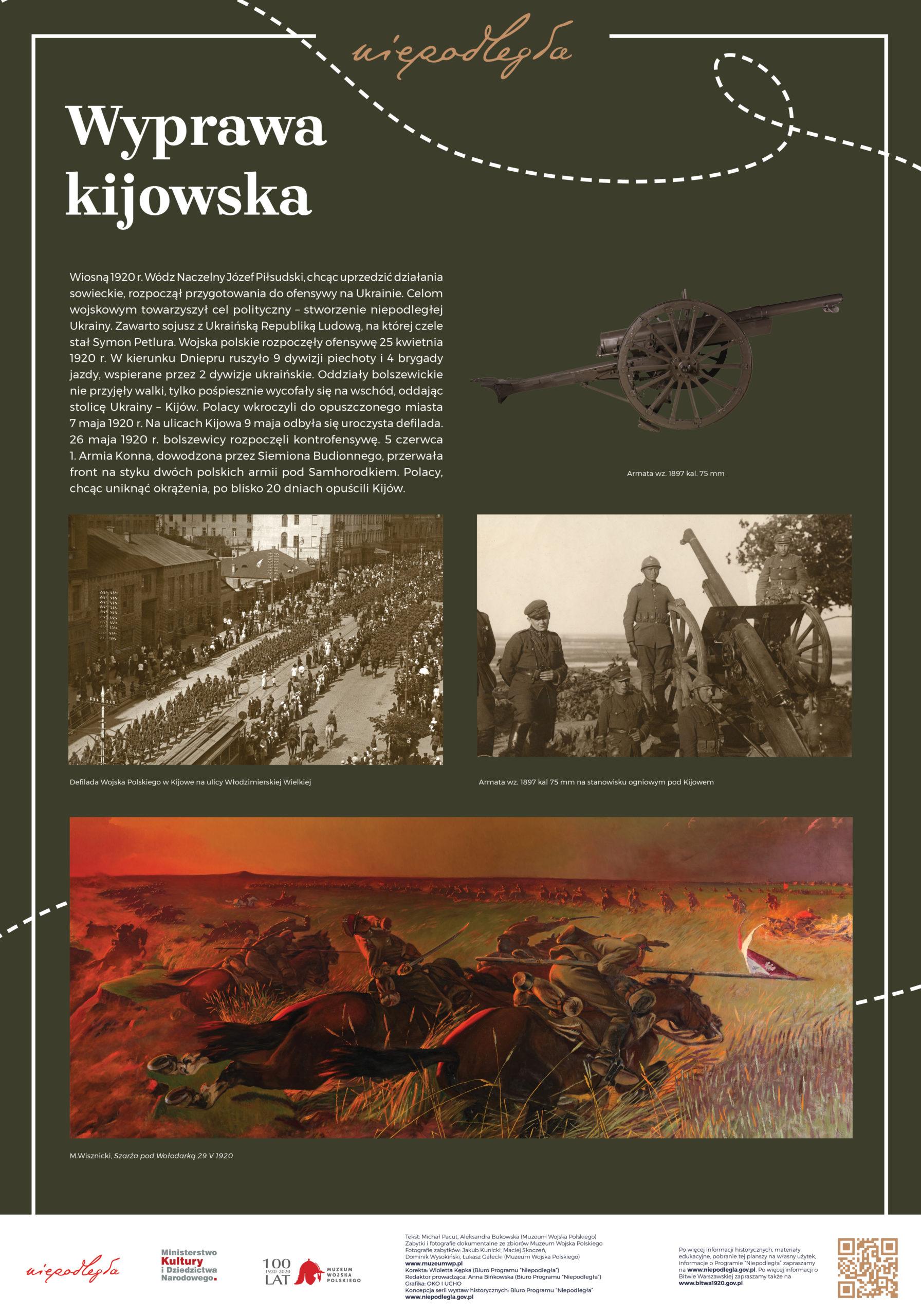 """Plansza z wystawy """"Bitwa Warszawska. Stulecie zwycięstwa"""" pod tytułem Wyprawa kijowska"""