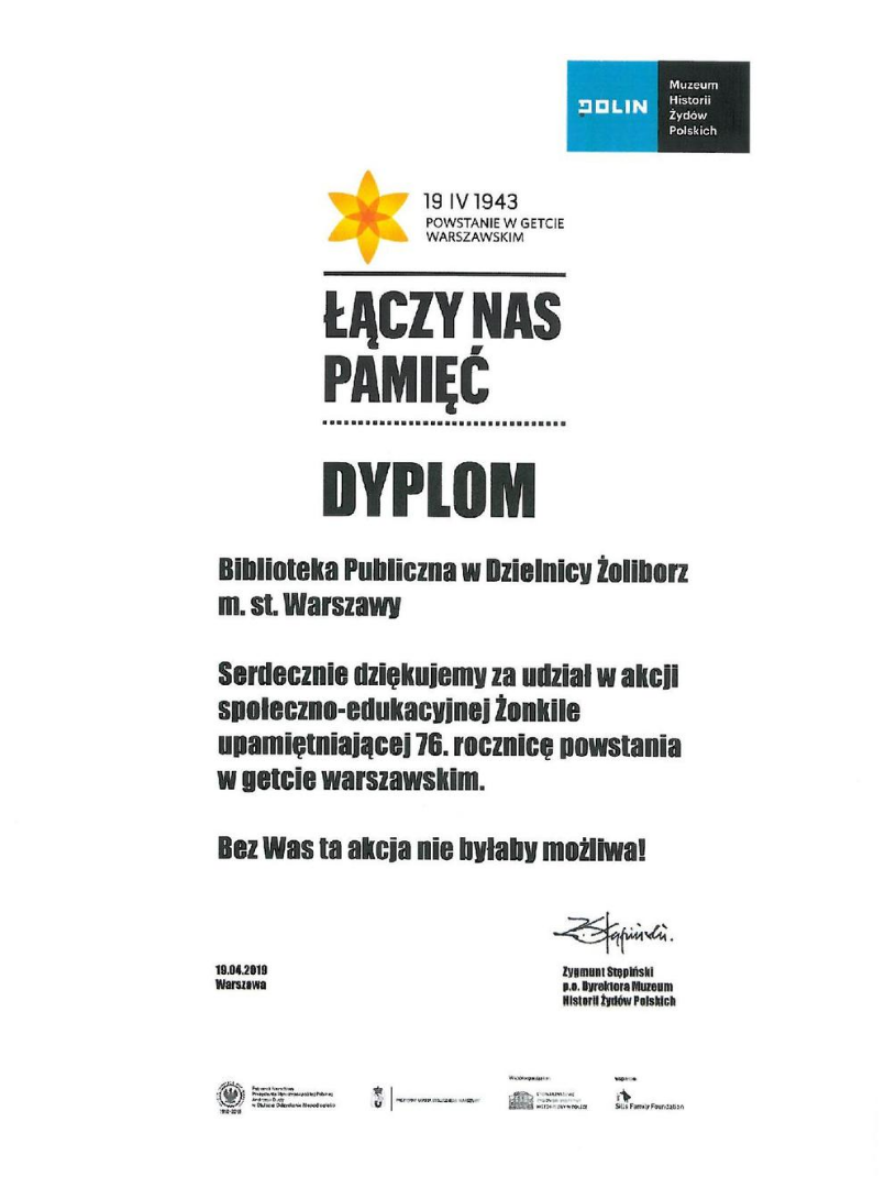 dyplom za udział w akcji żonkile - rok 2019