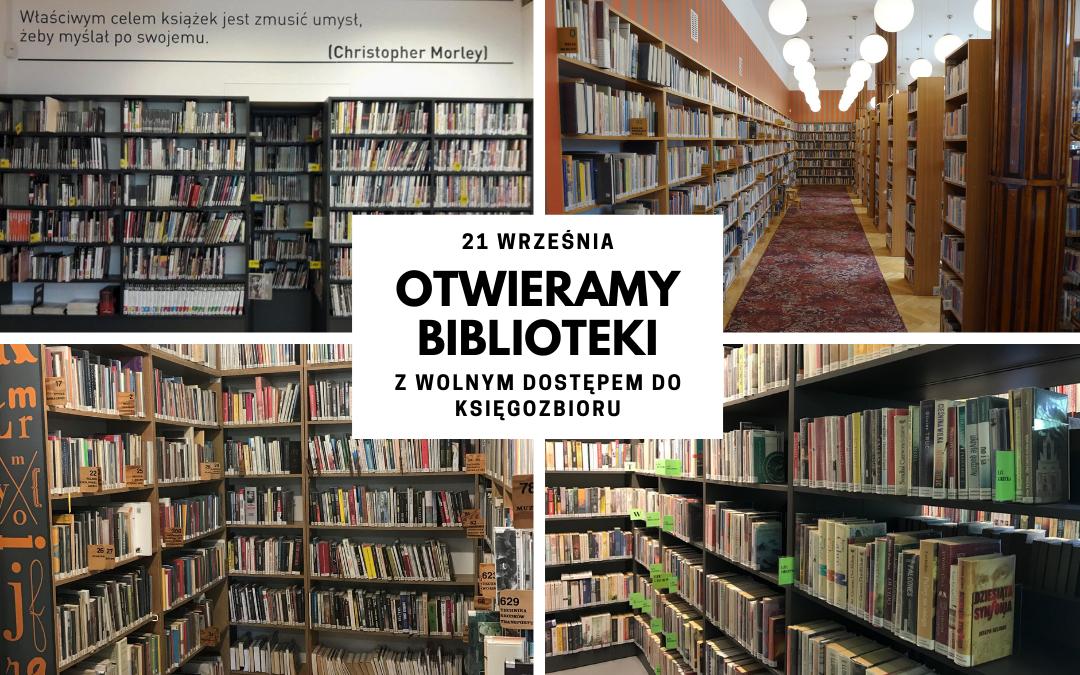 kolaż zdjęć z różnych placówek przedstawiający księgozbiory bibliotek