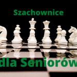 Plakat informujący - przedstawiający szachownicę, zapraszający na dzień szachowy zorganizowany z okazji Warszawskich dni Seniora