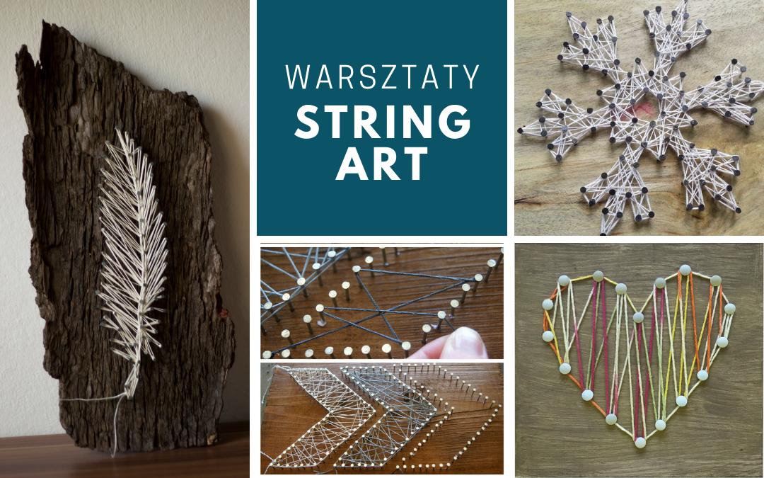 kolaż prac prezentujący technikę string art