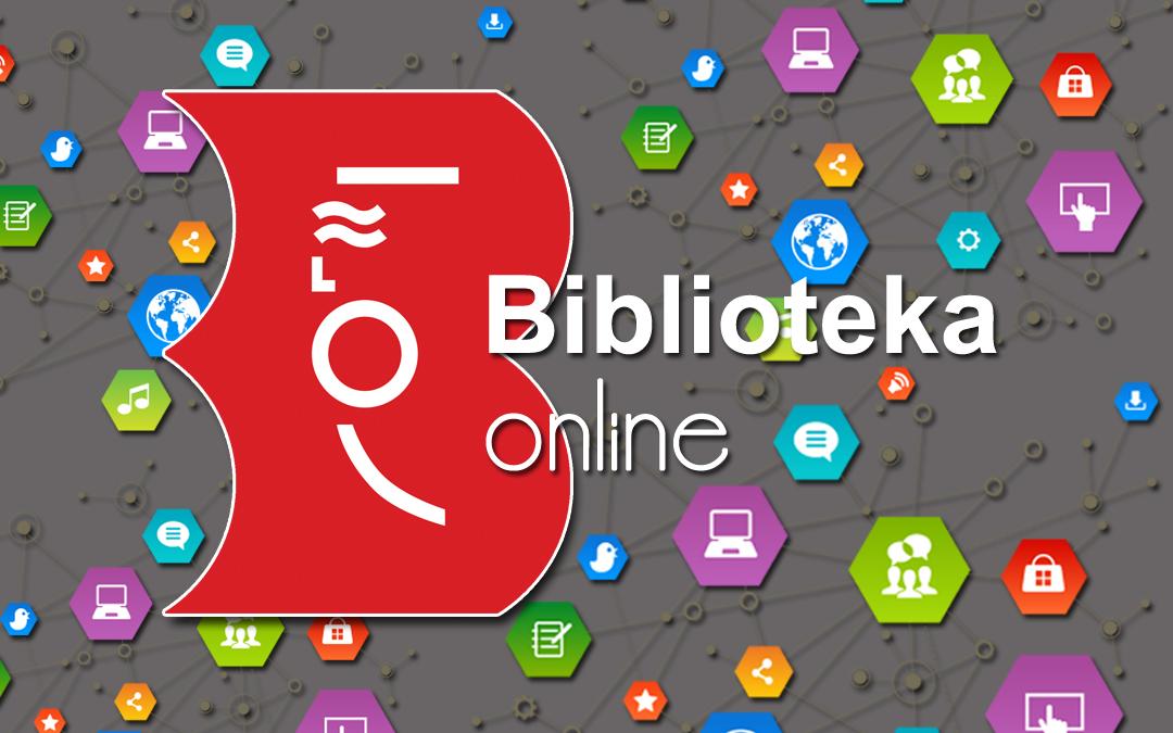 Logo biblioteki na tle ikon internetowych