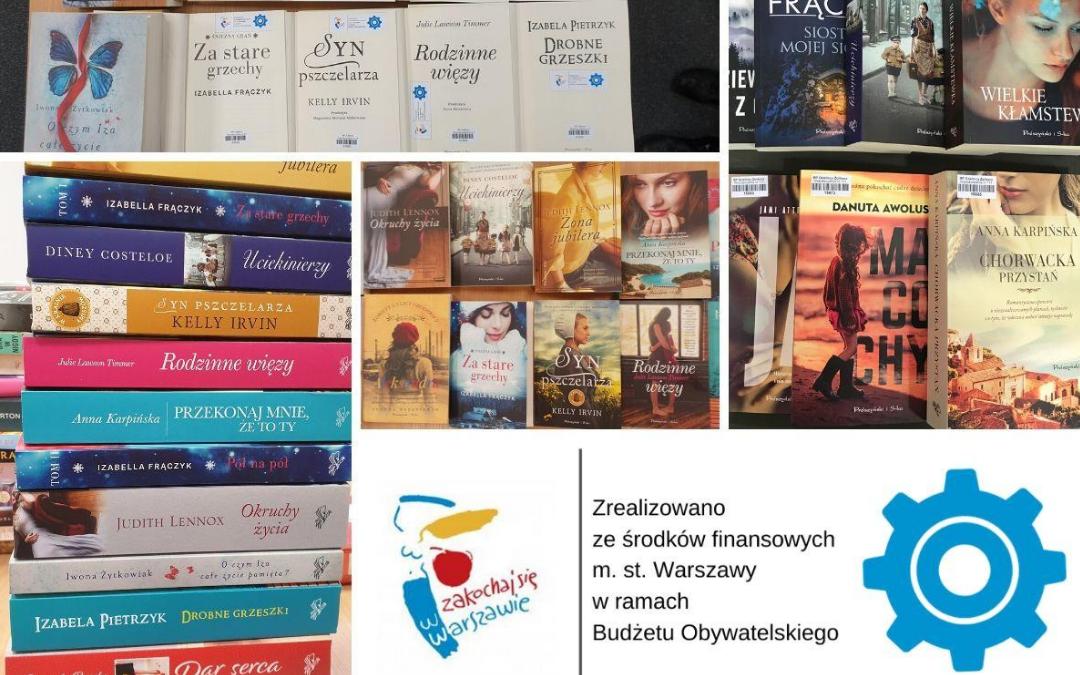 kolaż zdjęć zakupionych z budżetu obywatelskiego książek z dużym drukiem