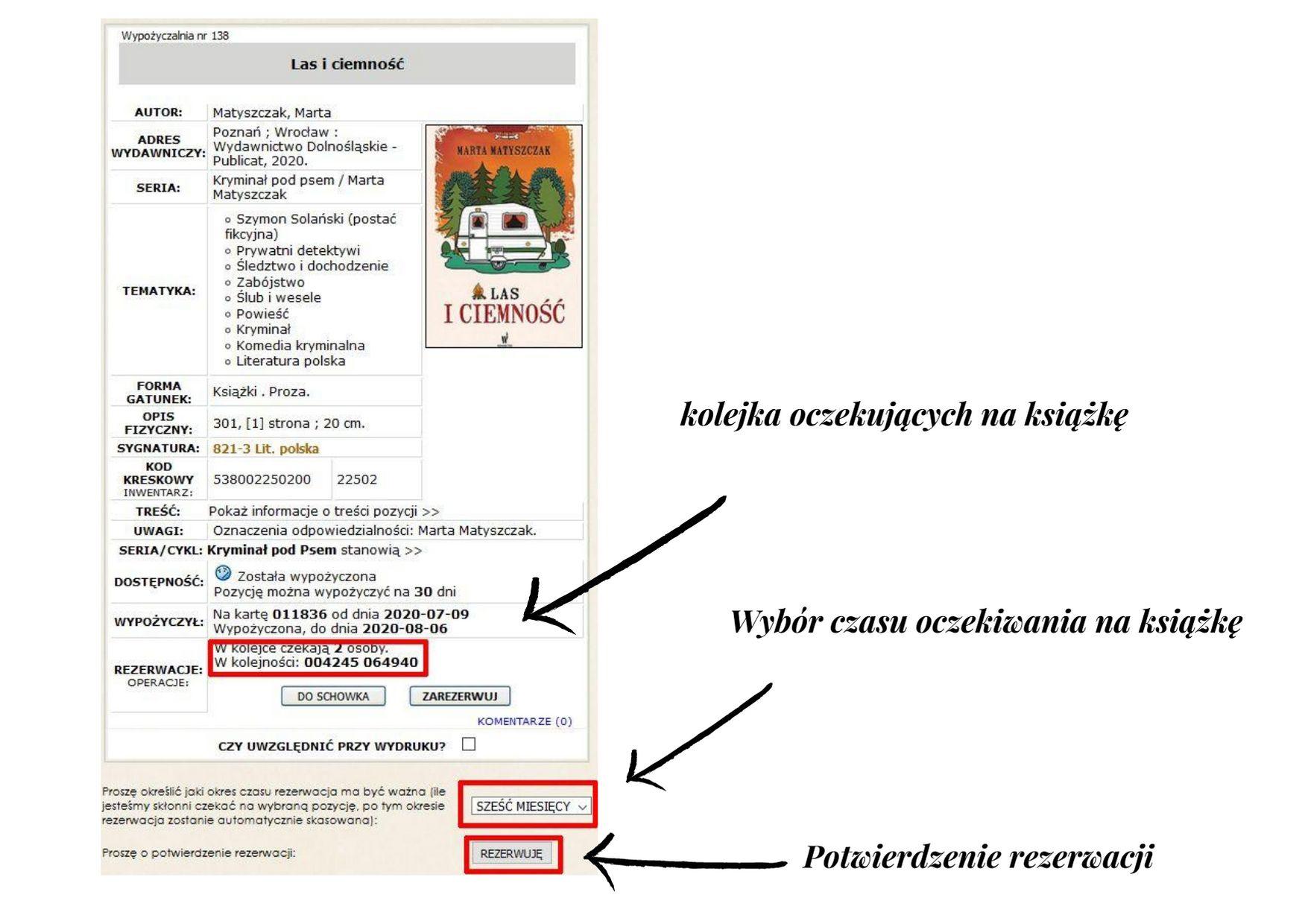 proces rezerwacji książki – karta katalogowa książki z zaznaczonymi na niej: kolejką rezerwacji, polem do wyboru czasu rezerwacji oraz przyciskiem potwierdzającym rezerwację