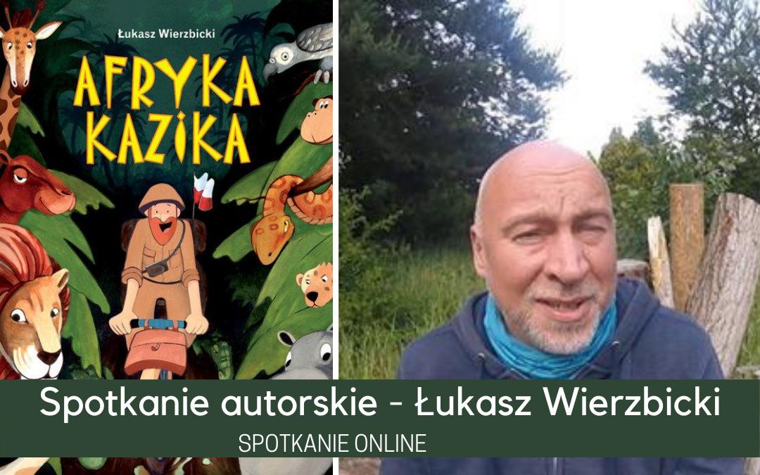 plakat informujący o spotkaniu autorskim z Łukaszem wierzbickim