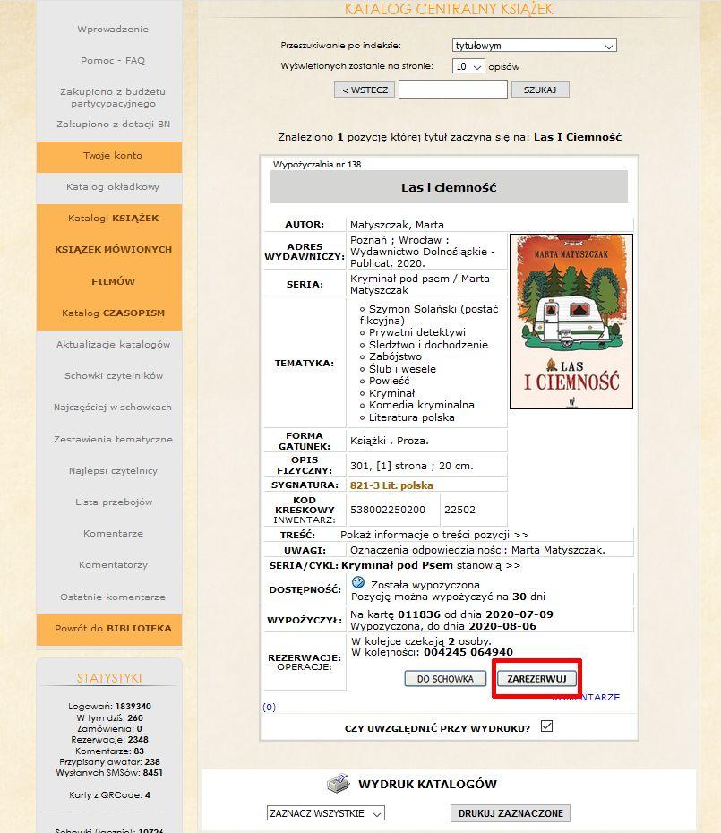 wyszukiwanie pozycji – katalog centralny Biblioteki z wyświetloną kartą katalogową książki, którą można zarezerwować