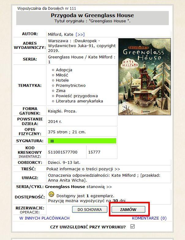 """zamówienie – karta katalogowa książki z zaznaczonym przyciskiem """"zamów"""""""