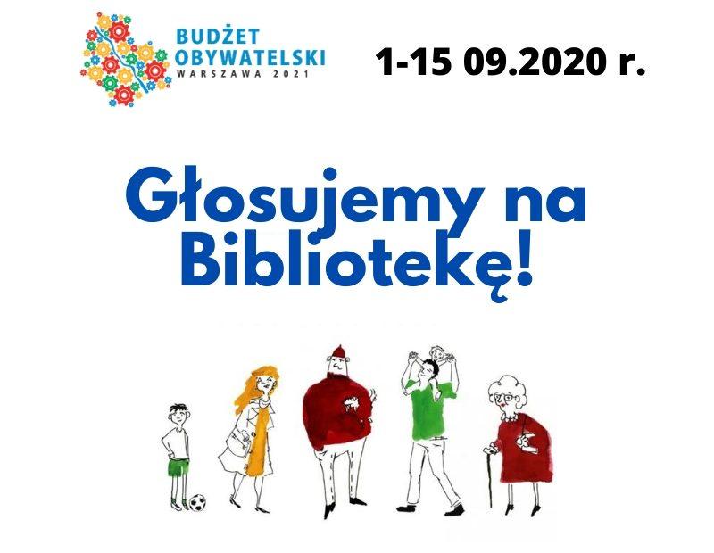 Plakat zachęcający do głosowania na projekty biblioteczne w ramach Budżetu Obywatelskiego 2021.