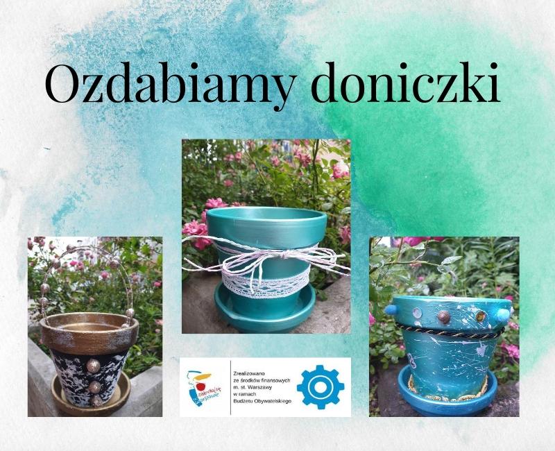 plakat na informujący o warsztatach plastycznych podczas których uczestnicy będą ozdabiać ceramiczne doniczki