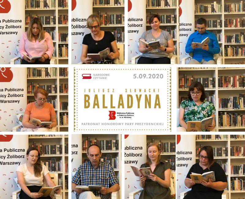 Plakat promujący akcję Narodowe Czytanie 2020. Kolaż zdjęć przedstawiający pracownikow Biblioteki czytających dramat Balladyna