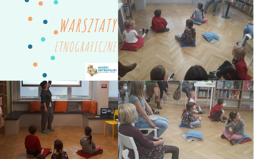 grafika ozdobna przedstawiająca trzy zdjęcia z warsztatów etnograficzny na których widać dzieci biorące udział w zajęciach