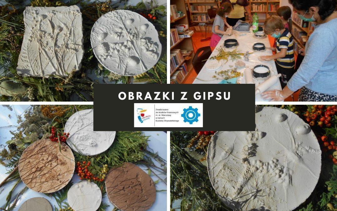 Kolaż zdjęć przedstawiający przebieg i prace wykonane podczas warsztatów tworzenia obrazków z gipsu