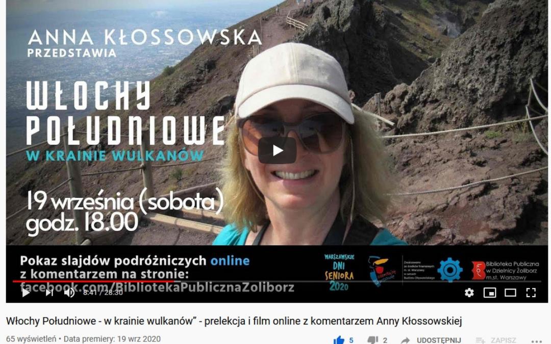 """Reklama prelekcji podróżniczej """"Włochy południowe - w krainie wulkanów"""" dostępnej online."""