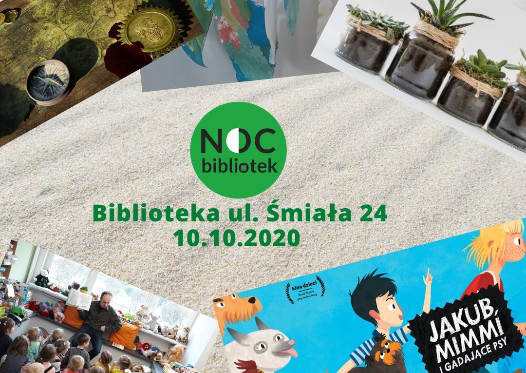 Grafika informująca o akcji Noc Bibliotek 2020