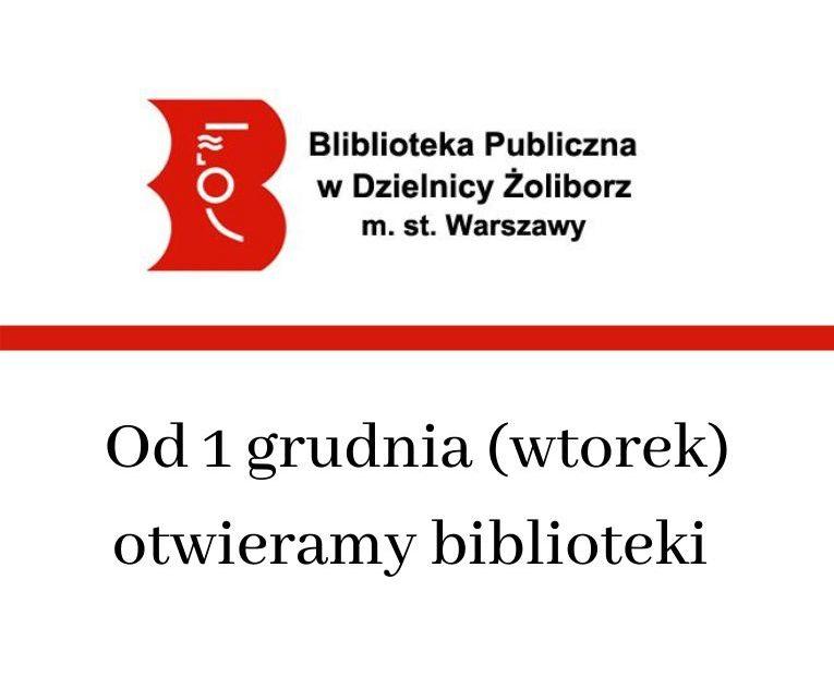 grafika informująca o otwarciu biblioteki od 1 grudnia 2020 r.