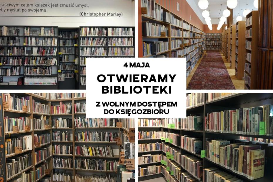 kolaż zdjęć z różnych placówek przedstawiający księgozbiory bibliotek i informację o otwraciu biblioteki