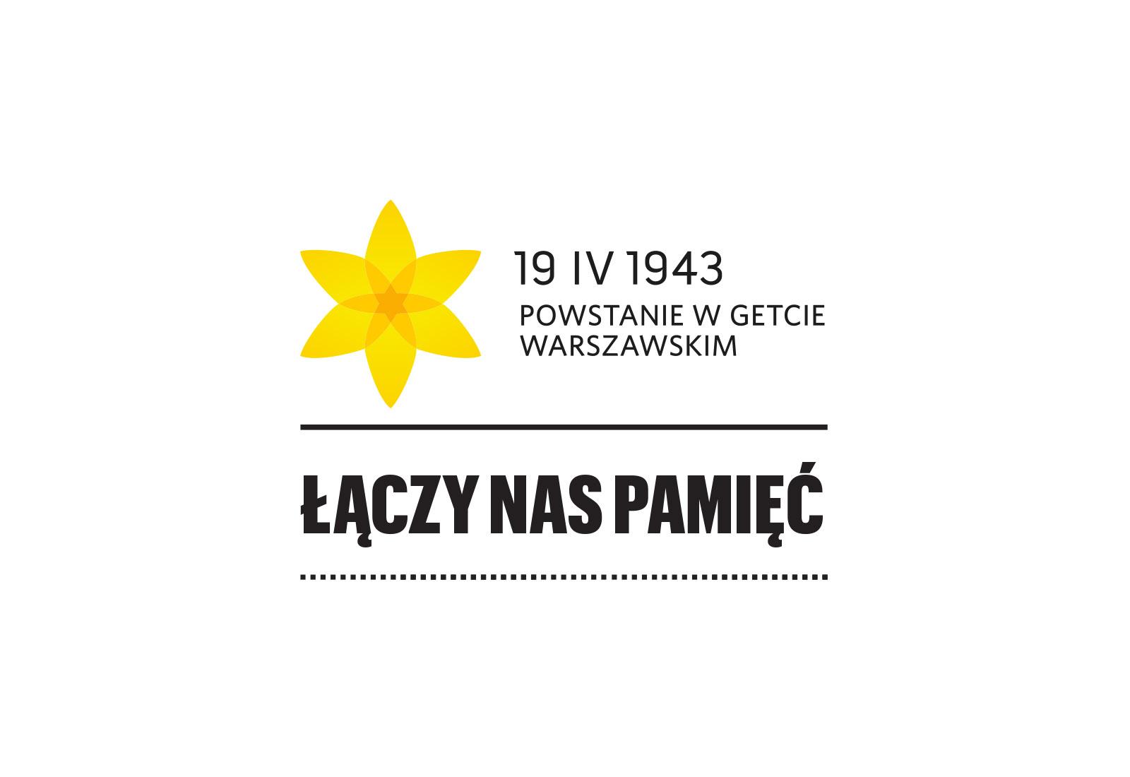 grafika promująca Akcję Żonkile, na białym tle żółty żonkil i tekst 19 IV 1943 Powstanie w getcie warszawskim, pod spodem napis Łączy nas Pamięć