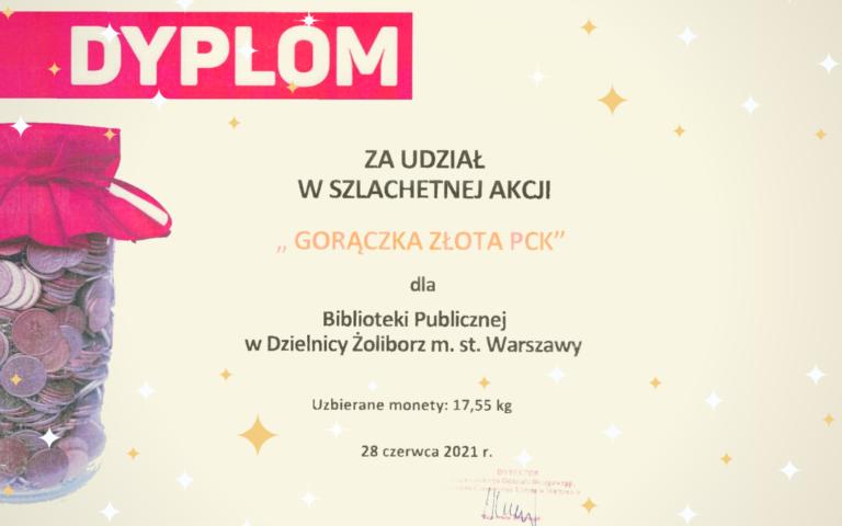 obrazek wyróżniający przedstawiający dyplom za udział w akcji gorączka złota pck dla biblioteki publicznej w dzielnicy żoliborz m.st. warszawy