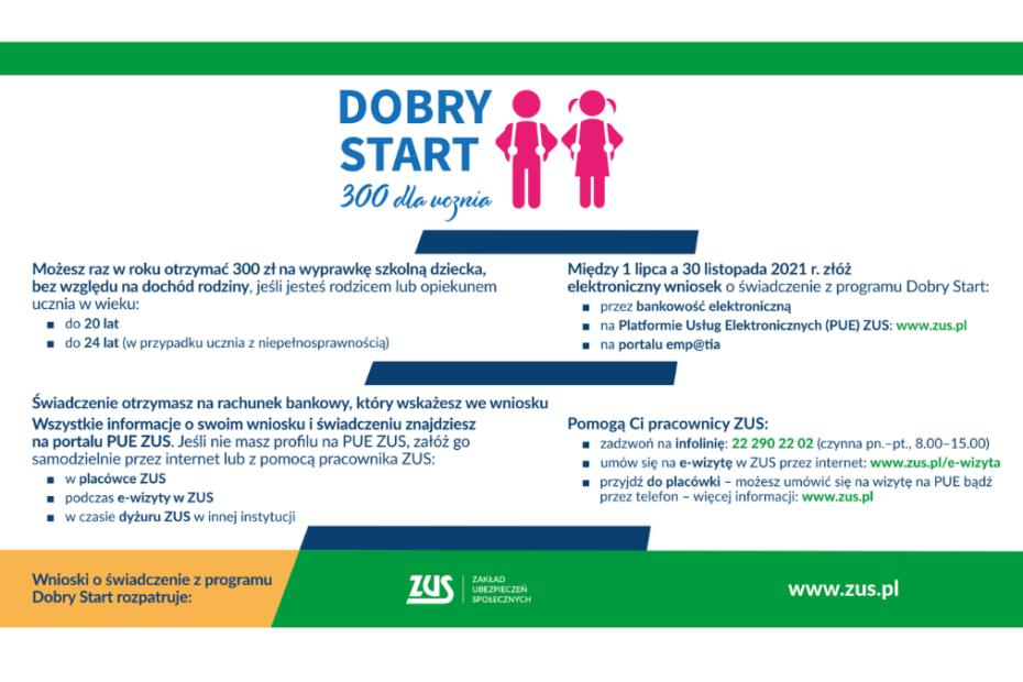 Reklama programu ZUS - Dobry Start. 330 dla ucznia