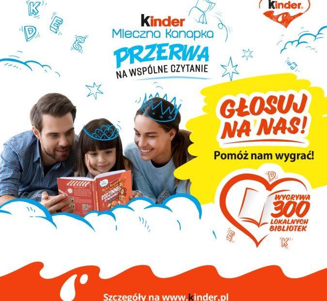 Plakat informacyjny akcji Kinder Przerwa na Wspólne Czytenie.