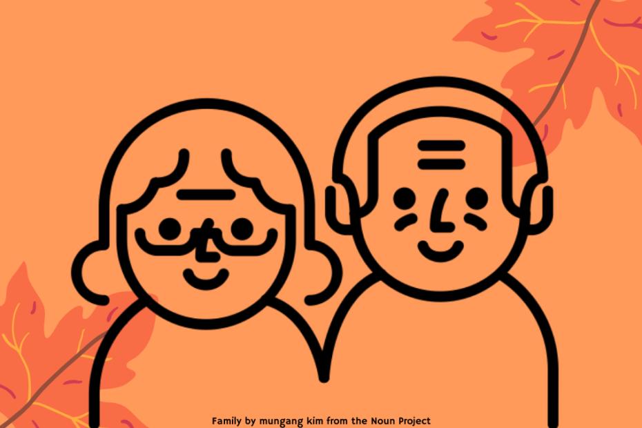 grafika wyróżniająca - ikony seniorki i seniora na pomarańczowym tle, obok liście