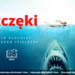 grafika wyróżniająca w tle zdjęcie z plakatu szczęki rekin i pływająca kobieta, tekst: szczęki peter benchley reż. steven spielberg oraz logo dkkif